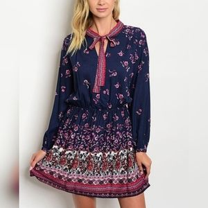 S.H.E. Boho Tie Neck Dress